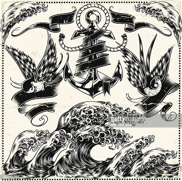 intricate illustration of nautical symbols - woodcut stock illustrations