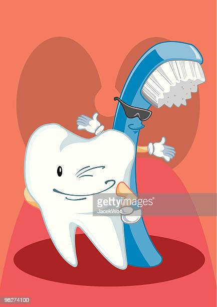 introducing...tooth & brush - brushing teeth stock illustrations