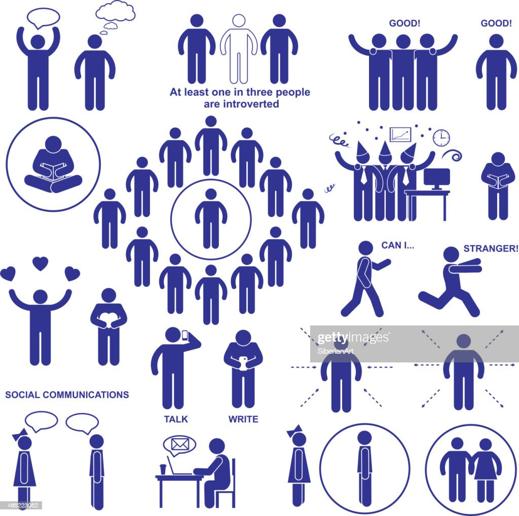 Introverts and extroverts vector pictograms.