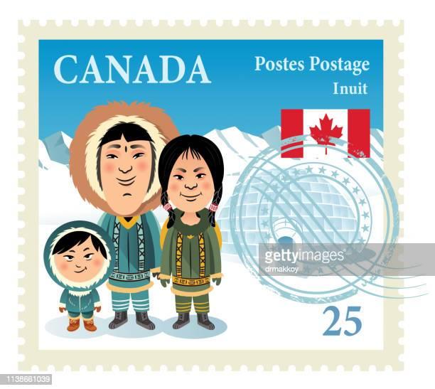 illustrations, cliparts, dessins animés et icônes de timbre de famille inuit - igloo