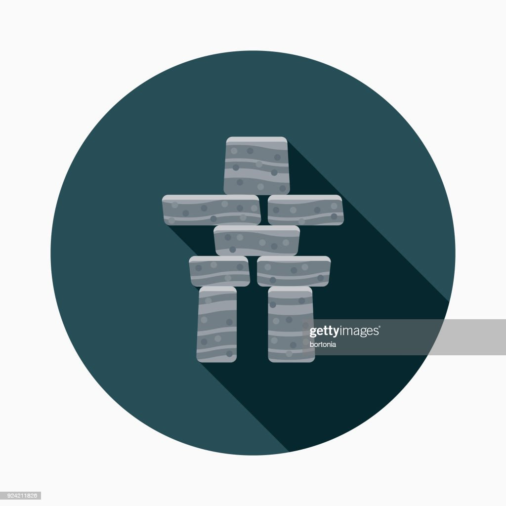 Inukshuk Flat Design Canadian Icon With Side Shadow Vector Art