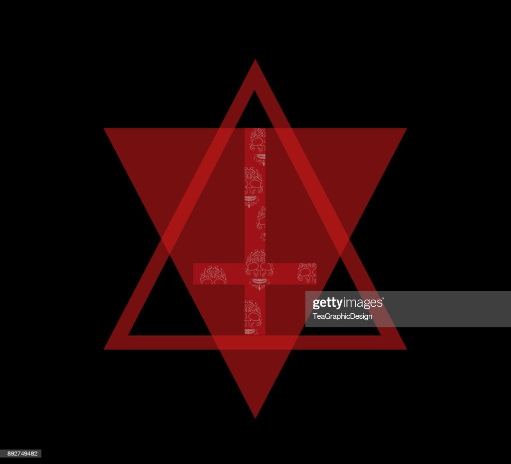 Inverted cross with skulls red color triangle, modern graphic design