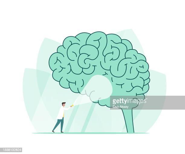 investigating alzheimer - brain tumour stock illustrations