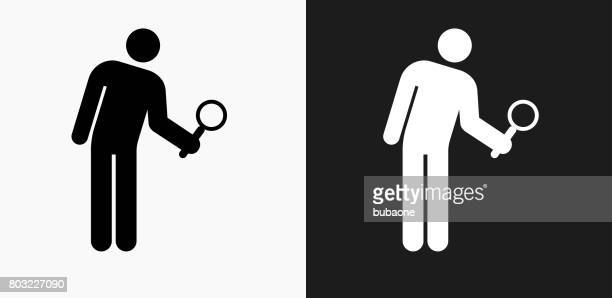 Investigating Icon on Black and White Vector Backgrounds