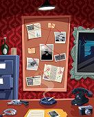 Investigation board in detective office