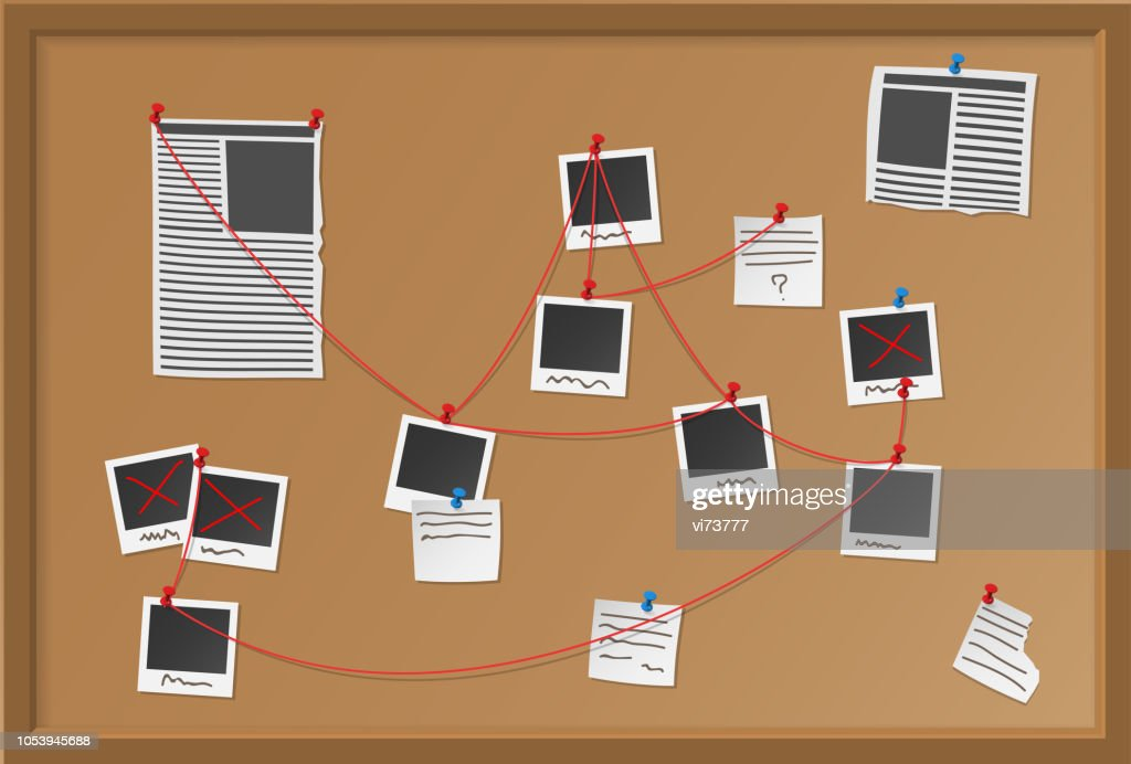 Investigation board with pinned photos, newspapers and notes. Cops plan for solve the crime. Detective map vector illustration.