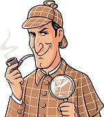 Investigator With Pipe And Magnifying Glass