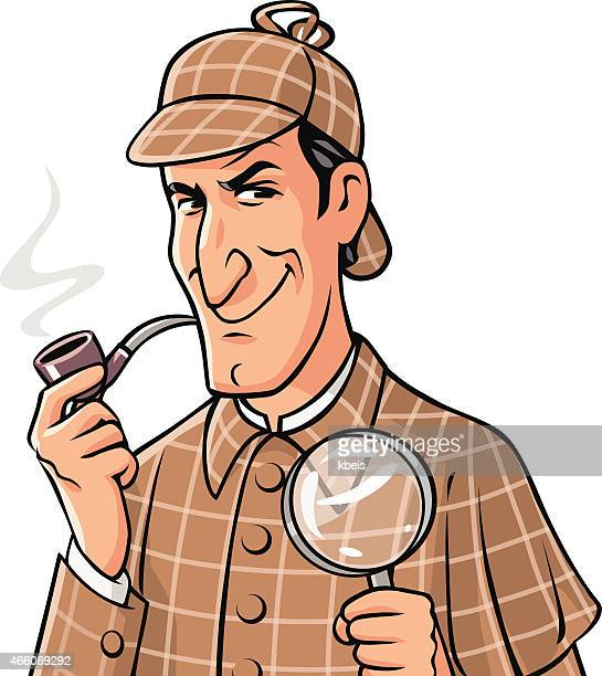 investigator with pipe and magnifying glass - sherlock holmes stock illustrations