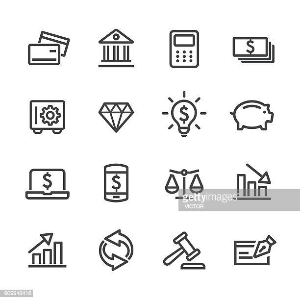 investing and finance icons set - line series - finance and economy stock illustrations, clip art, cartoons, & icons