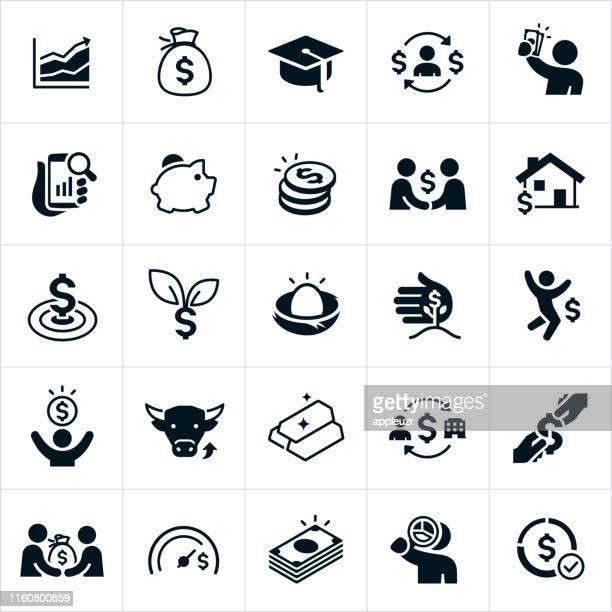 investing icons - begeisterung stock-grafiken, -clipart, -cartoons und -symbole