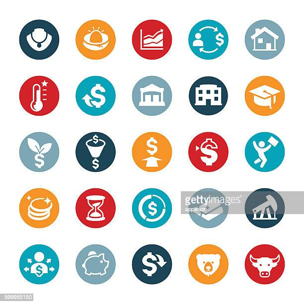 investing icons - return on investment stock illustrations