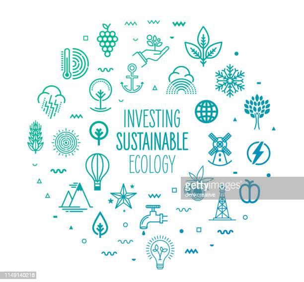 持続可能なエコロジー・アウトラインスタイルのインフォグラフィックデザインの投資 - 気候点のイラスト素材/クリップアート素材/マンガ素材/アイコン素材