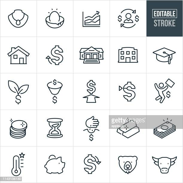 investing thin line icons - editable stroke - investment stock illustrations