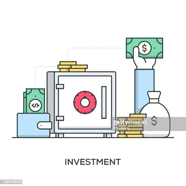 investment banner - return on investment stock illustrations