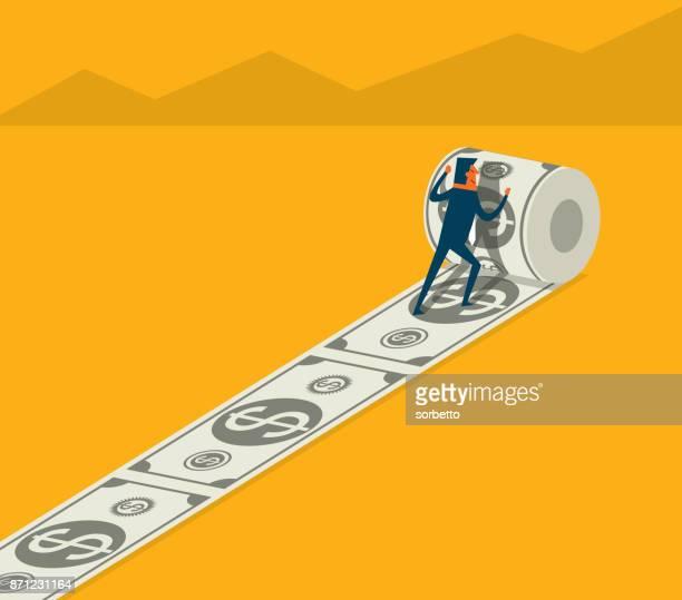 ilustraciones, imágenes clip art, dibujos animados e iconos de stock de inversión - empresario - fajo de billetes