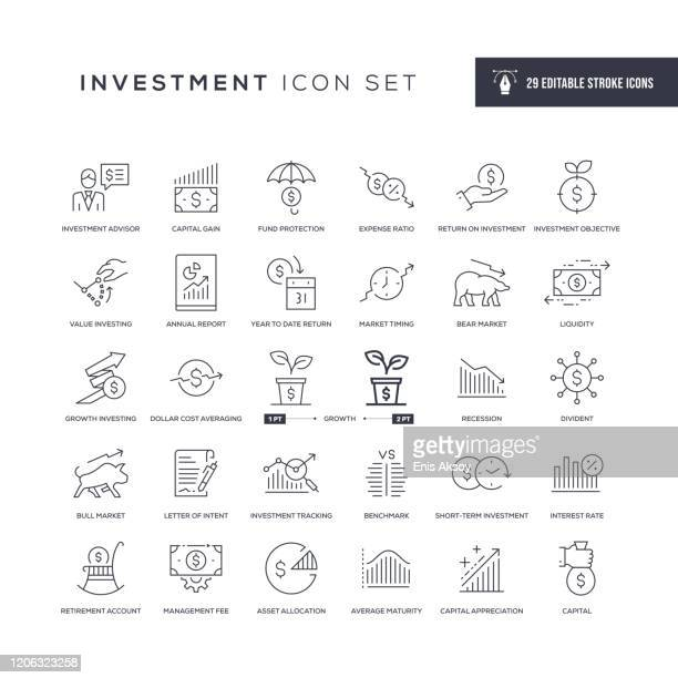 investment editable stroke line icons - ersparnisse stock-grafiken, -clipart, -cartoons und -symbole