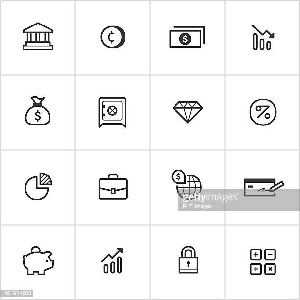 investment & finance icons — inky series - american one dollar bill stock illustrations, clip art, cartoons, & icons
