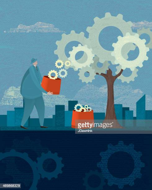 investment growth and yield or earnings revenue business con - landscaper professional stock illustrations, clip art, cartoons, & icons