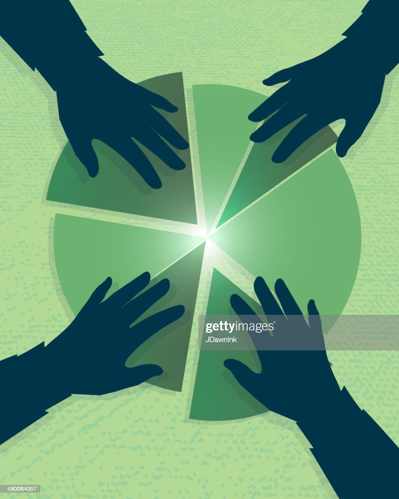 Investment growth profit sharing revenue silhouette hands business con