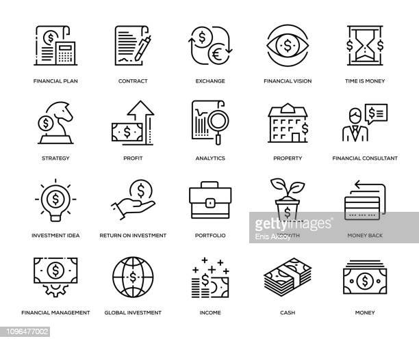 investment icon set - investment stock illustrations