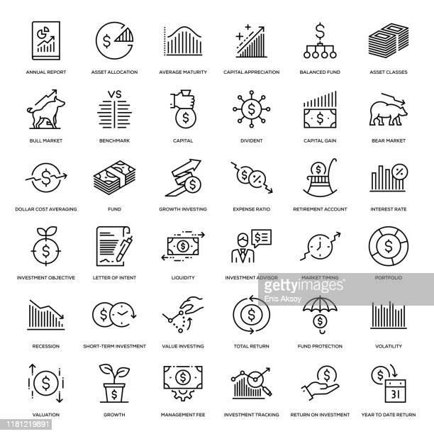 illustrazioni stock, clip art, cartoni animati e icone di tendenza di set di icone di investimento - economia