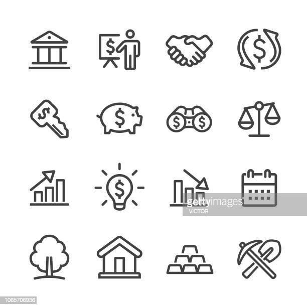 investment icons set - line series - calendar date stock illustrations