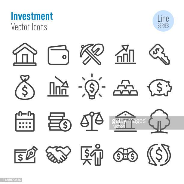投資アイコンセット-ベクターラインシリーズ - 仮想通貨マイニング点のイラスト素材/クリップアート素材/マンガ素材/アイコン素材