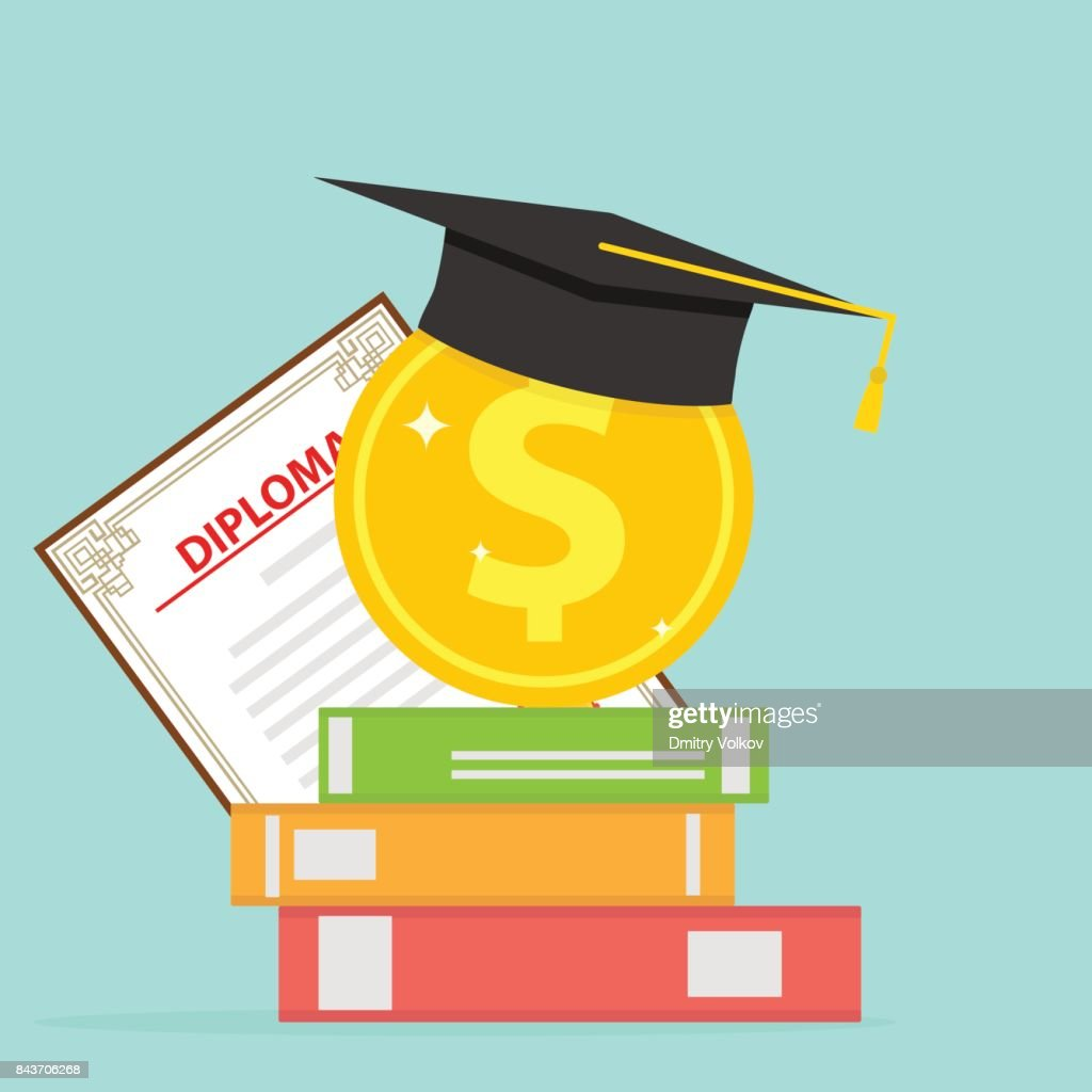 Investment in education. A gold coin with books and a graduate cap.