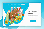 Investment in property. Isometric flat vector landing page template.