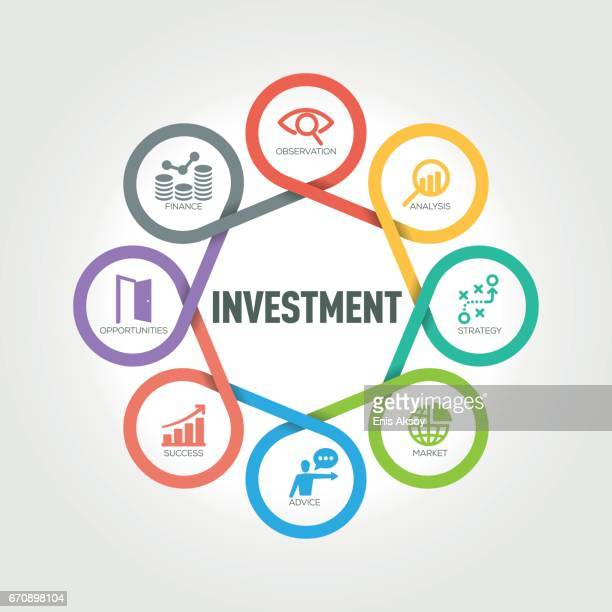 Investment infographic with 8 steps, parts, options