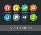 Investment keywords with icons