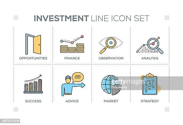 Investment keywords with line icons