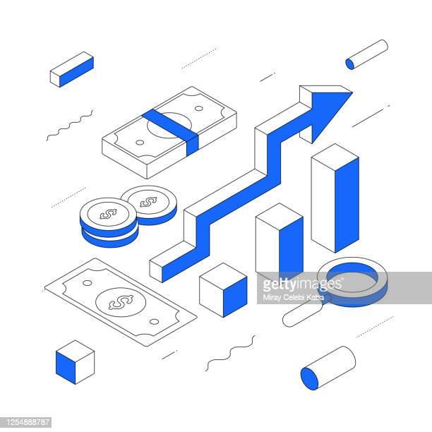 investition modernes isometrisches linienillustrationskonzept - kapitalrendite stock-grafiken, -clipart, -cartoons und -symbole