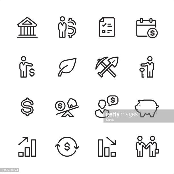 investment - outline icon set - cryptocurrency mining stock illustrations