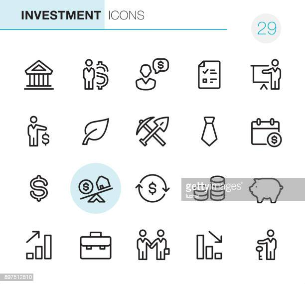 investment - pixel perfect icons - stock certificate stock illustrations
