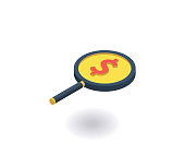 Investment search icon. Vector illustration in flat isometric 3D style.
