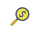 Investment search icon. Vector illustration in flat minimalist style.