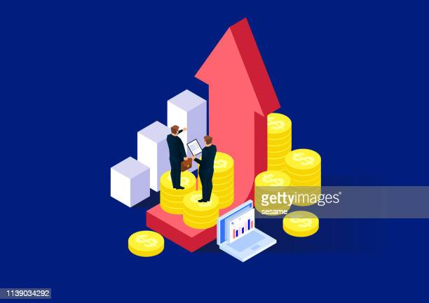Investment solution, two businessmen standing on top of gold coins stack and arrow analysis