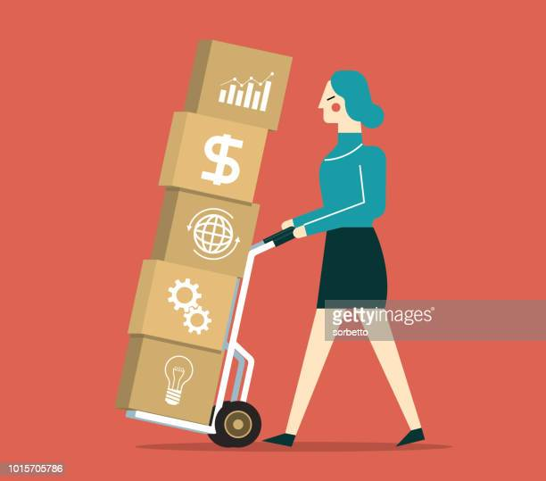 investment strategy - businesswoman - hand truck stock illustrations, clip art, cartoons, & icons