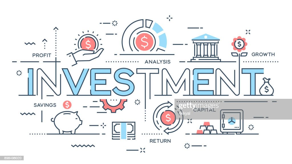 Investment, strategy, profit, capital, growth, savings thin line concept.