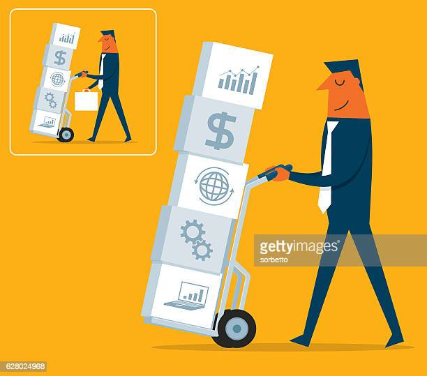 investment strategy - hand truck stock illustrations, clip art, cartoons, & icons