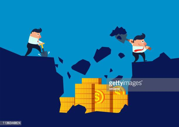 investment, two businessmen buried a pile of gold coins in the soil - buried stock illustrations, clip art, cartoons, & icons