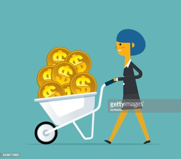 investment - wheelbarrow stock illustrations, clip art, cartoons, & icons