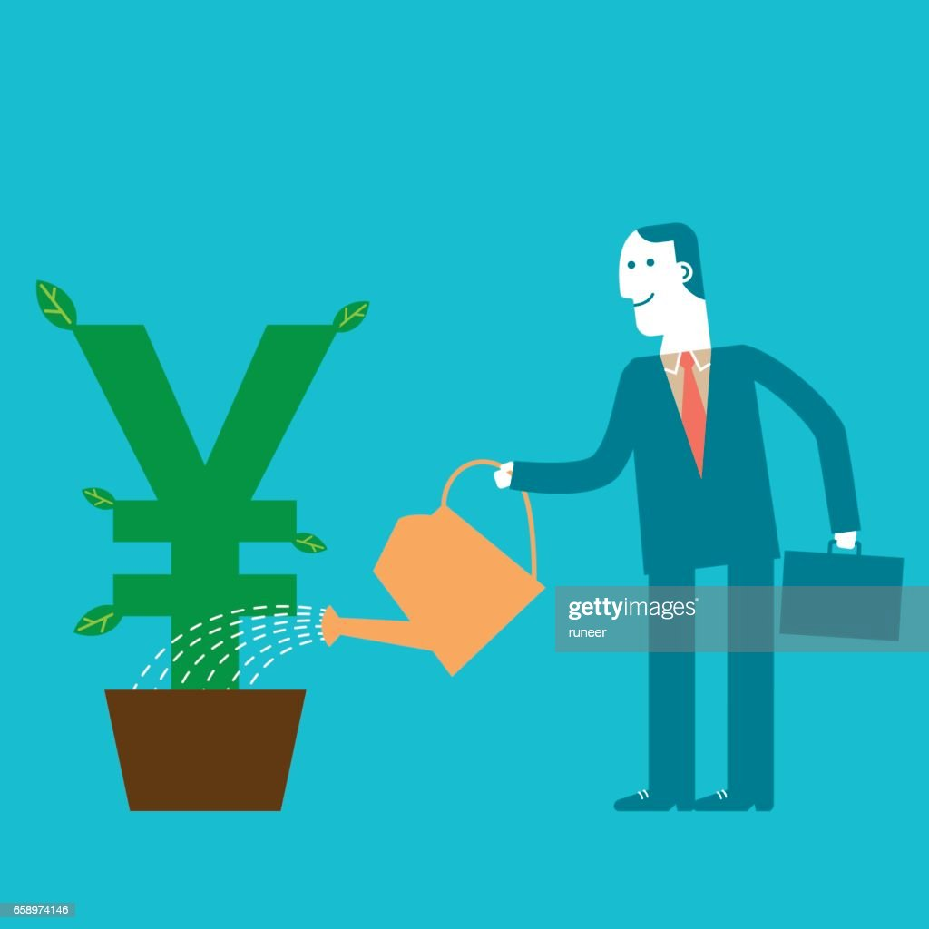 Investor Businessman watering Yen/Yuan Plant | New Business Concept : stock illustration