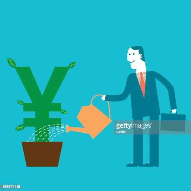 Investor Businessman watering Yen/Yuan Plant | New Business Concept