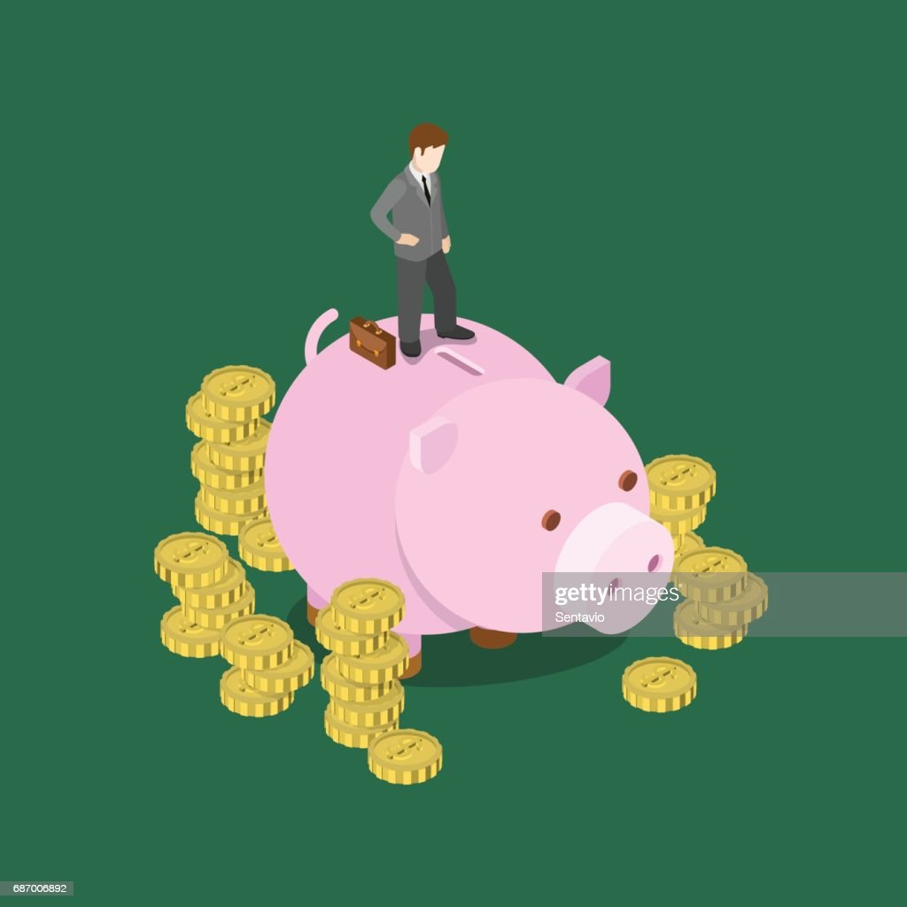 Investor making decision flat 3d web isometric infographic concept vector. Businessman stands on big moneybox. Creative people financial monetary piggy bank savings collection.