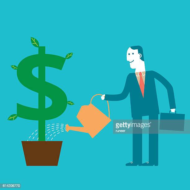 Investor Watering Dollar Sign Plant | New Business Concept