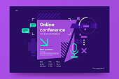 Invitation banner to the online conference. Business webinar invitation design. Announcement poster concept in flat style. Modern technology background with place for text. Vector eps 10.
