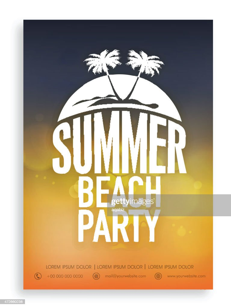 Invitation card for summer beach party.