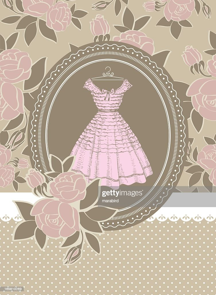 Invitation Card Rose Dress for Bridesmaid